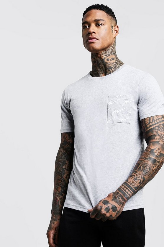 Mens Grey Crew Neck T-Shirt With All Over MAN Print Pocket