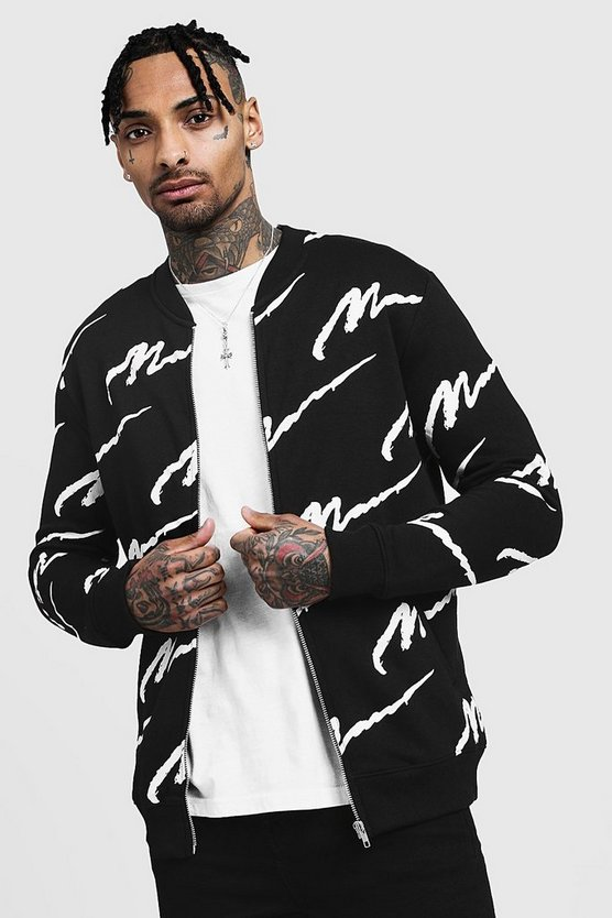 Mens Black All Over MAN Printed Jersey Bomber