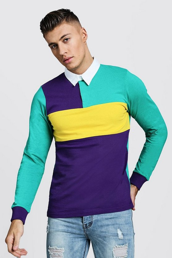 Multi Colour Block Long Sleeve Rugby Polo