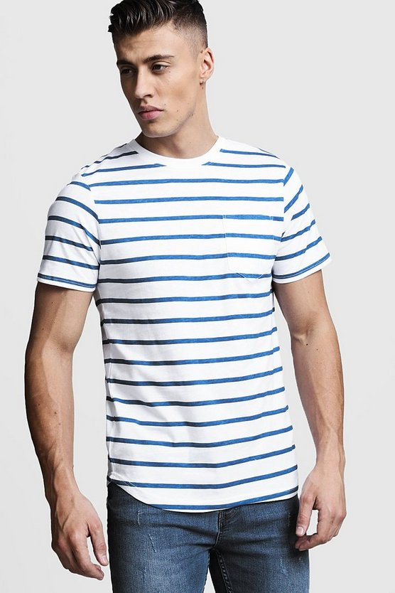 Stripe Pocket Print T-Shirt