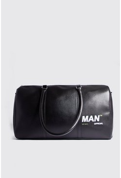 Mens Black MAN Branded PU Holdall