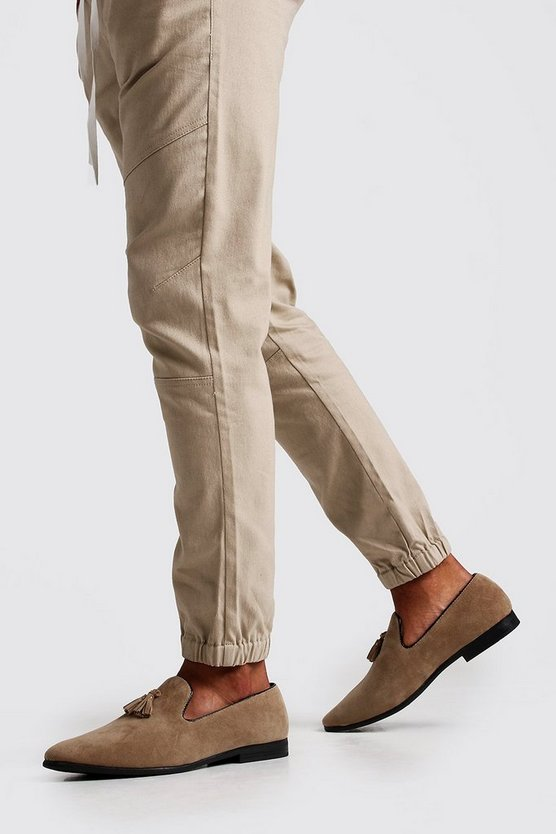 Sand Suede Look Tassel Loafer