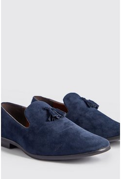 Mens Navy Suede Look Tassel Loafer