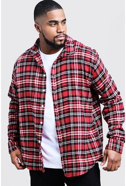 Mens Red Big And Tall Oversized Fit Check Shirt