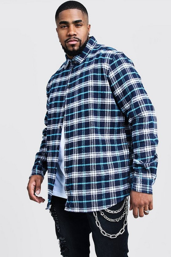 Big And Tall Longline Check Shirt With Print