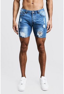 Skinny Fit Shorts aus Denim in Used-Optik mit seitlichem Tape-Detail, Blau, Herren
