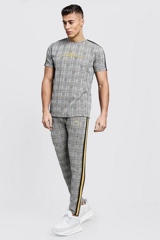 Brown MAN Signature Check T-Shirt Tracksuit With Tape