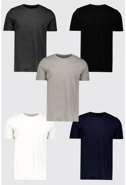 Mens Multi 5 Pack Basic Crew Neck T-Shirt