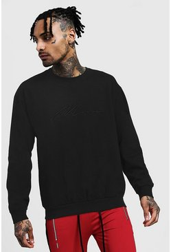 Mens Black 3D MAN Signature Embroidered Sweater