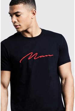Mens Black Red 3D MAN Signature Embroidered T-Shirt