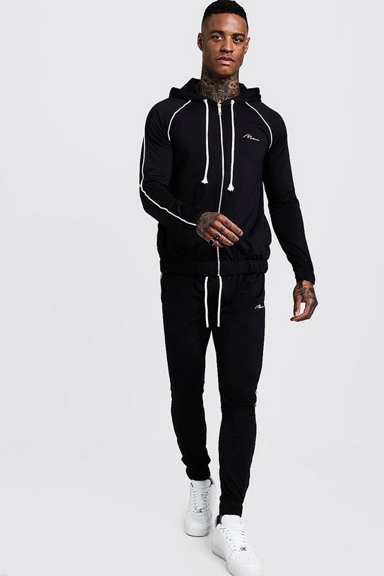 MAN Signature Zip Hooded Tracksuit With Piping