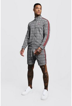 Mens Grey MAN Signature Check Funnel Neck Short Tracksuit