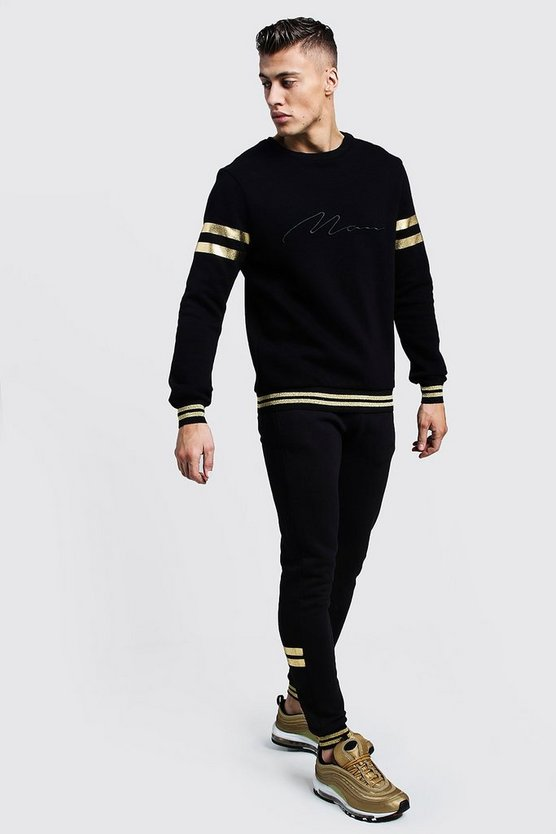 Black Gold Foil MAN Signature Sweater Tracksuit