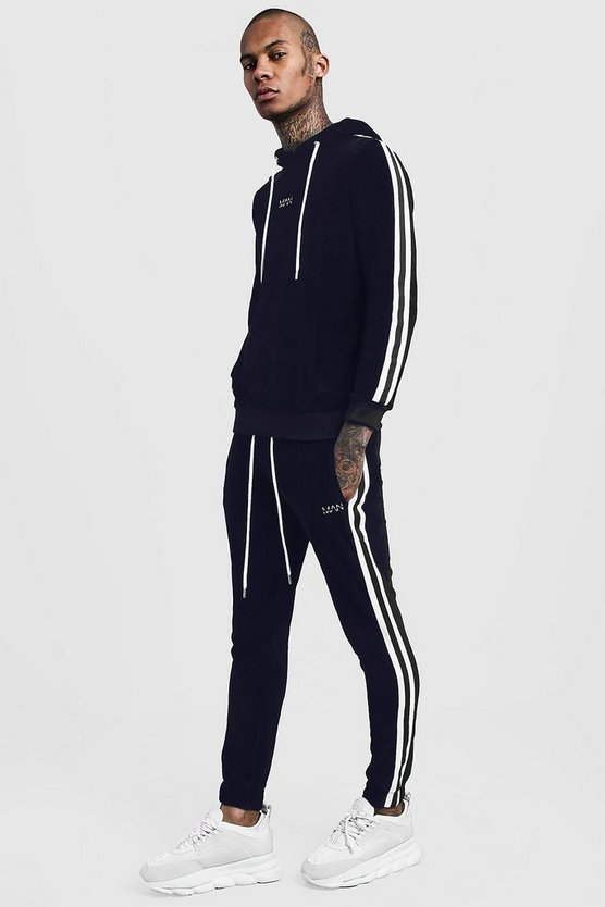 Velour Hooded MAN Tracksuit With Side Tape