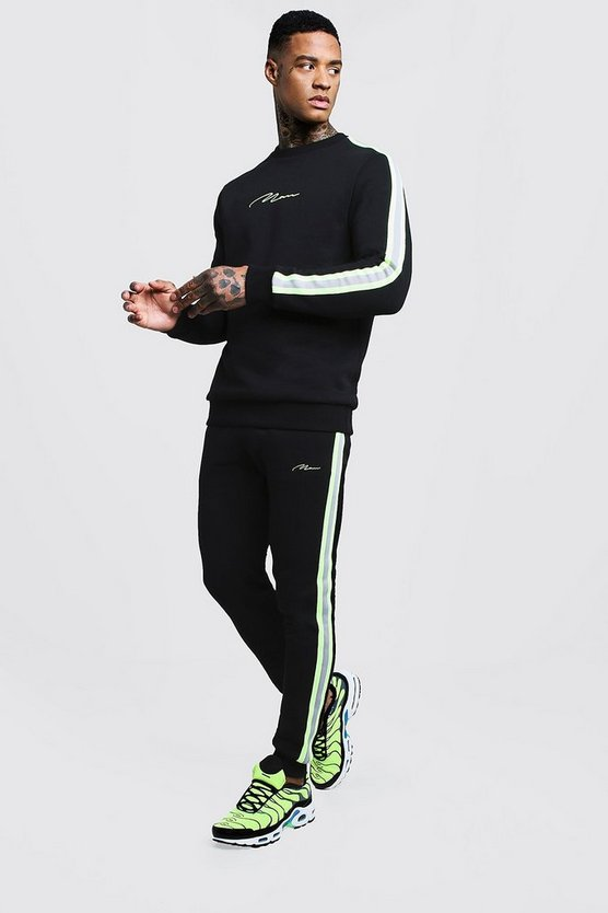 Black MAN Signature Sweater Tracksuit With Tape