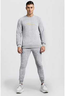 Mens Grey MAN Signature Velour Sweater Tracksuit