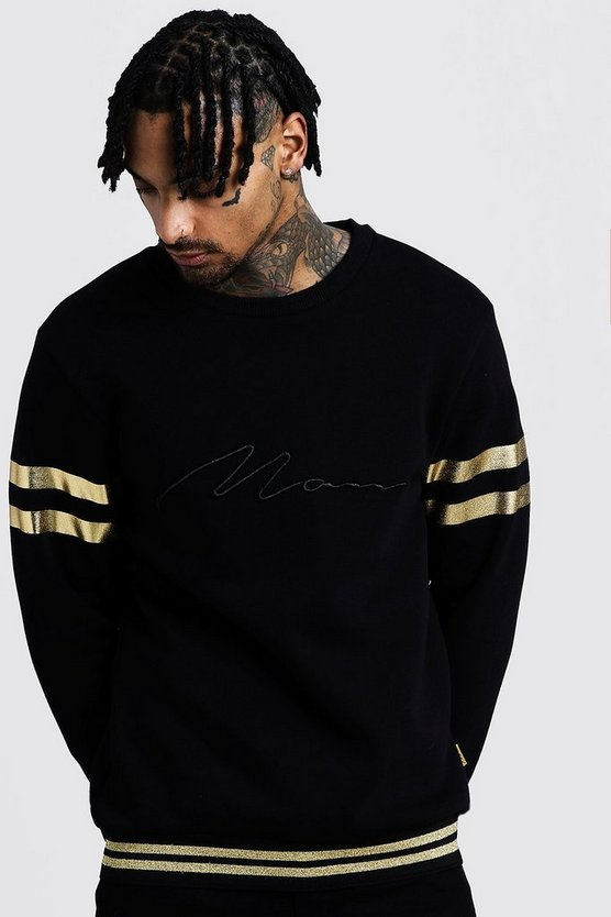 Black MAN Embroidered Sweat With Gold Rib