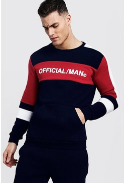 Sweat officiel MAN ton sur ton, Marine, Homme