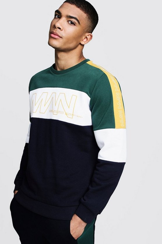 Navy Colour Block Panelled MAN Puff Print Sweater