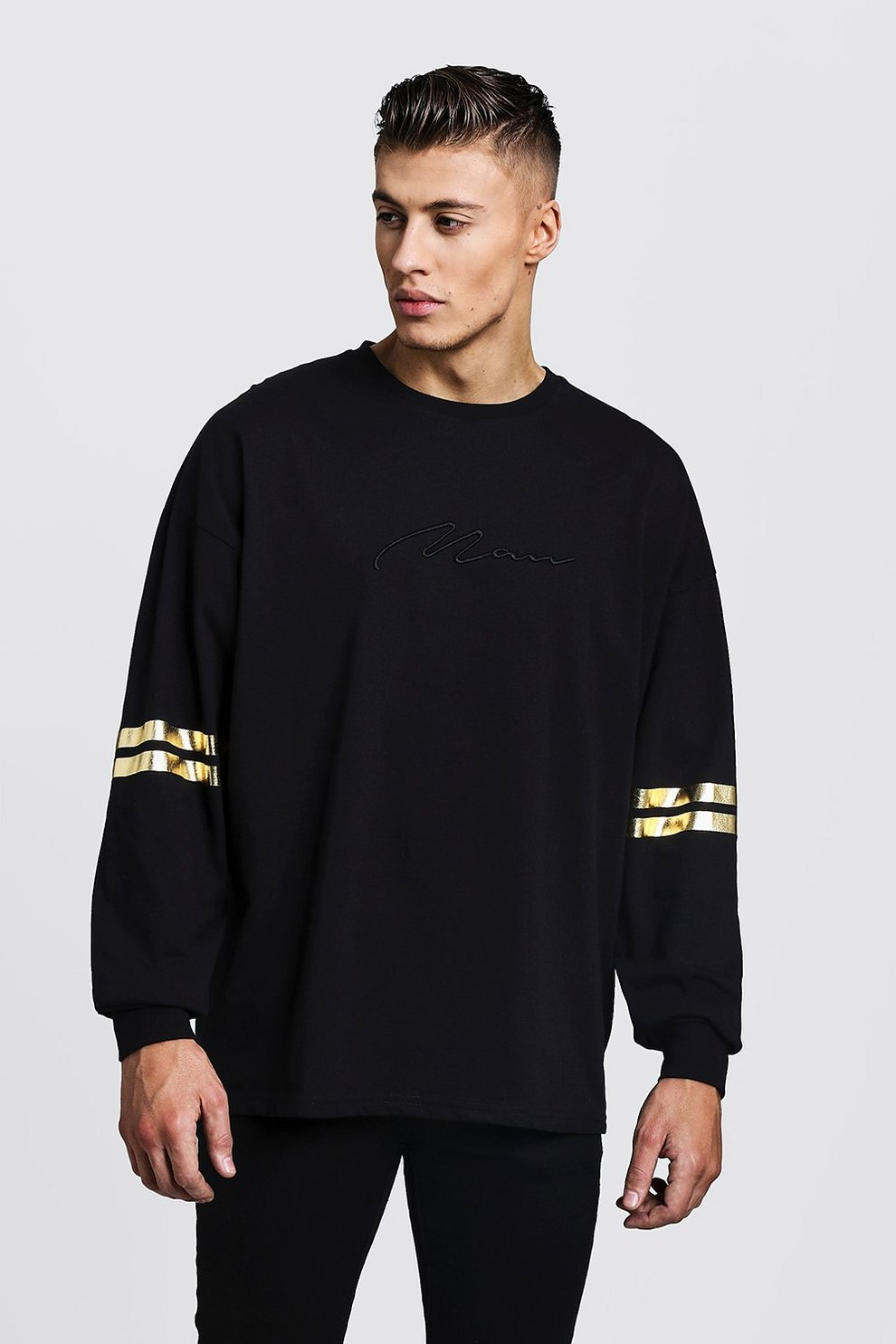 09b83e8c3 Mens Black Gold MAN Oversized Long Sleeve T-Shirt With Foil. Hover to zoom
