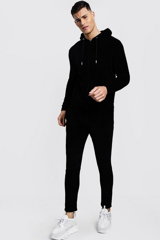 Black MAN Signature Velour Zip Hooded Tracksuit
