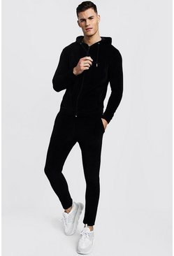 Mens Navy MAN Signature Velour Zip Hooded Tracksuit