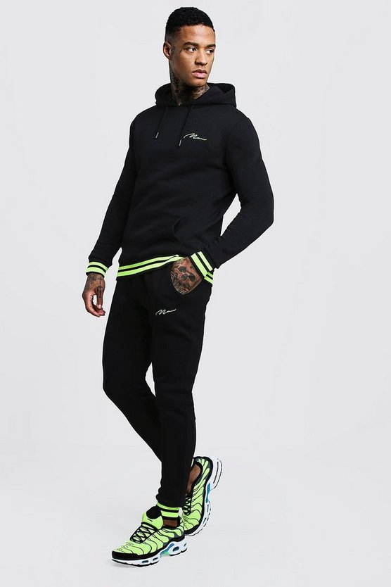 MAN Signature Hooded Tracksuit With Neon Rib