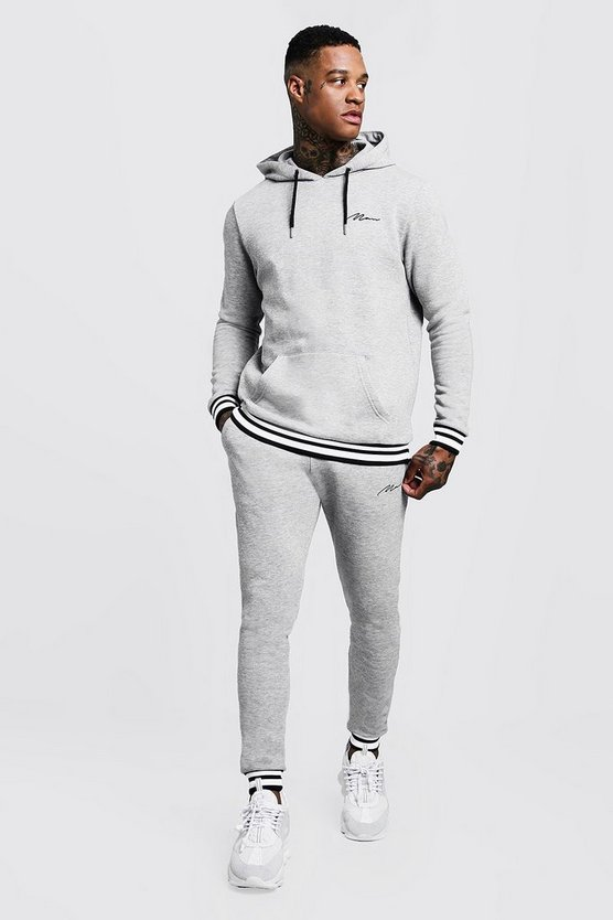 Grey MAN Signature Hooded Tracksuit With Contrast Rib