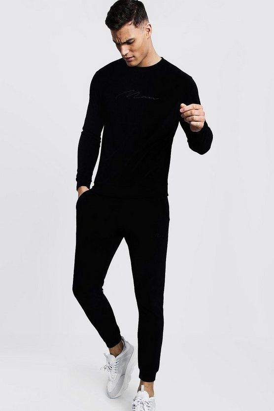 Black MAN Signature Velour Sweater Tracksuit