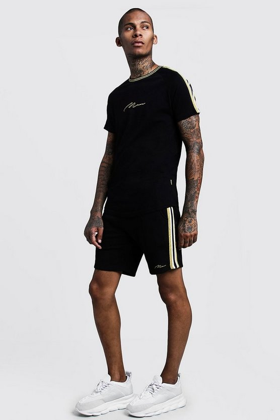 Gold MAN Tee & Short Set With Side Tape