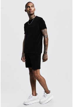 Mens Black Velour MAN Signature T-Shirt & Short Set