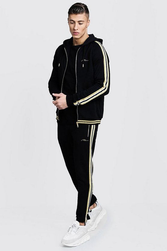 Gold MAN Zip Hooded Tracksuit With Tape