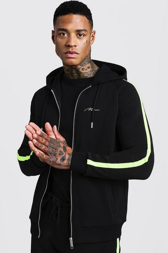 Black MAN Signature Zip Through Hoodie With Neon Tape