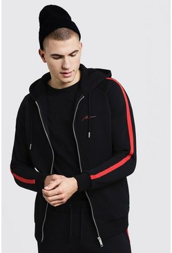 Mens Black MAN Signature Zip Hoodie With Red Tape