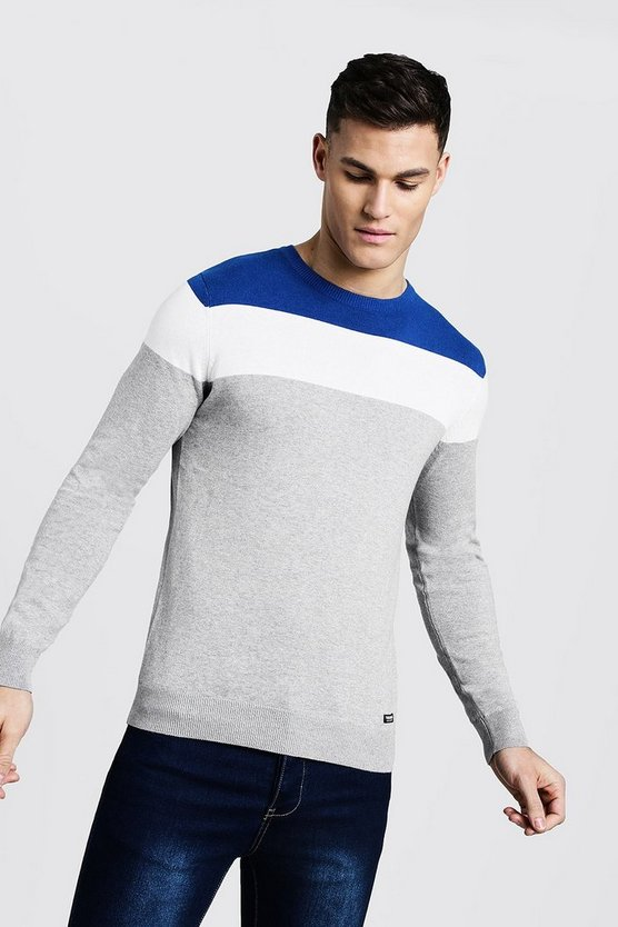 Blue Colour Block Muscle Fit Sweater