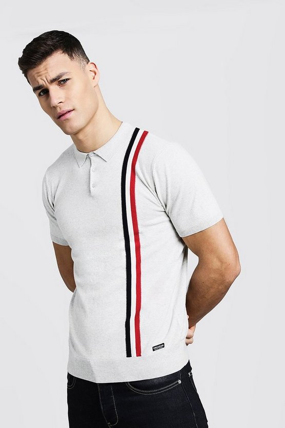 Muscle Fit Knitted Polo With Stripe Detail