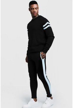 Mens Light blue Knitted Sweater Tracksuit With Side Panel