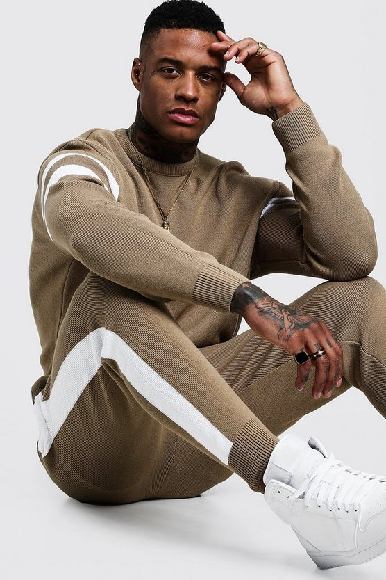 Mens Taupe Knitted Sweater Tracksuit With Side Panel