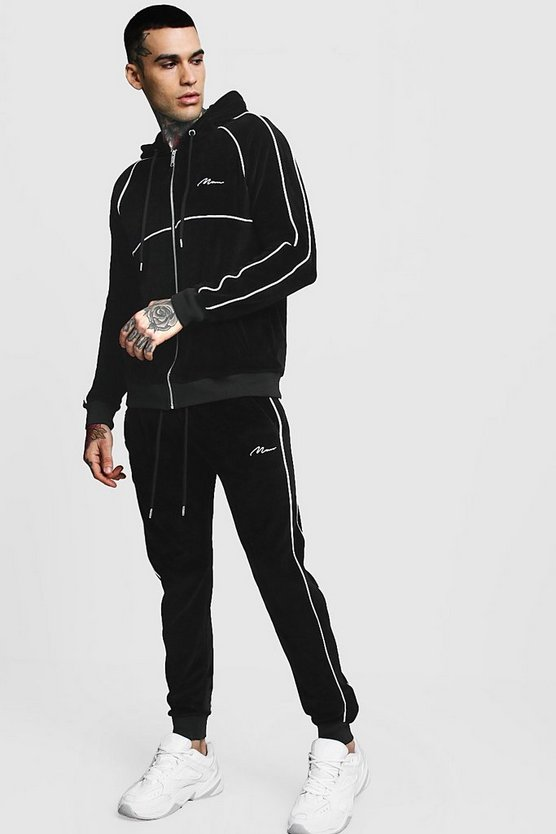 Velour Zip Hooded MAN Tracksuit With Piping