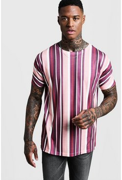 Mens Burgundy Vertical Stripe T-Shirt