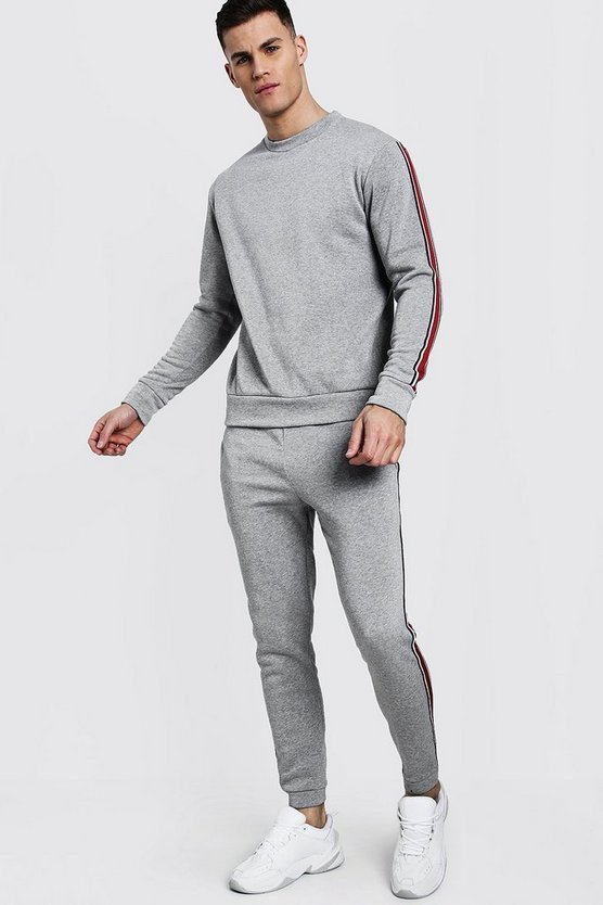 Grey Sweater Tracksuit With Contrast Tape