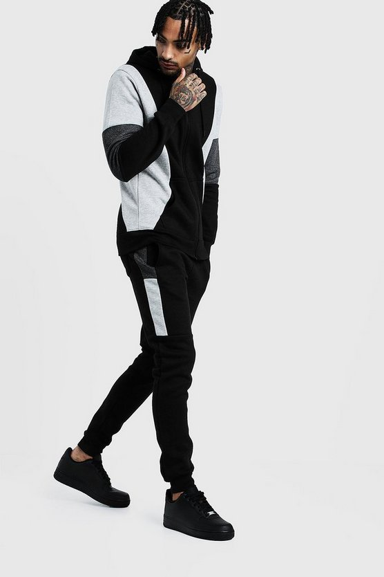 Black Contrast Panel Zip Hooded Tracksuit