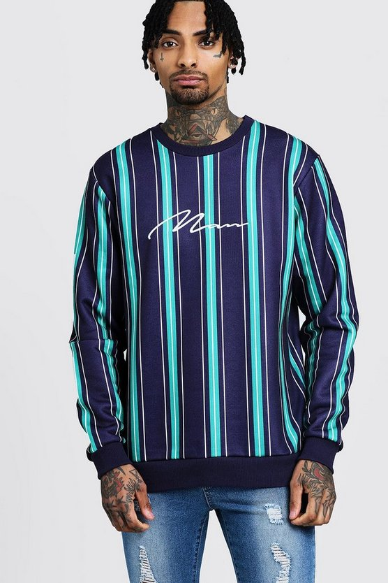 MAN Signature Embroidered Stripe Sweater