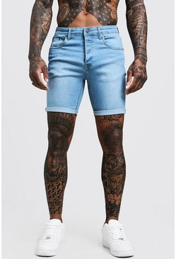 Stretch Skinny Fit Pale Blue Jean Shorts