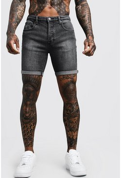 Stretch Skinny Fit Charcoal Jean Shorts