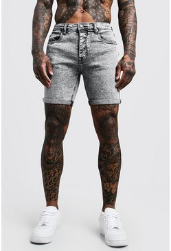 Skinny Fit Pale Grey Acid Wash Jean Shorts