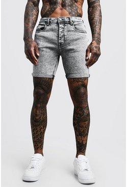 Skinny Fit Pale Grey Acid Wash Jean Shorts