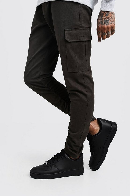 Mens Khaki Skinny Fit Twill Pants With Cargo Pockets