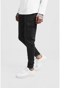 Mens Charcoal Skinny Fit Twill Pants With Cargo Pocket