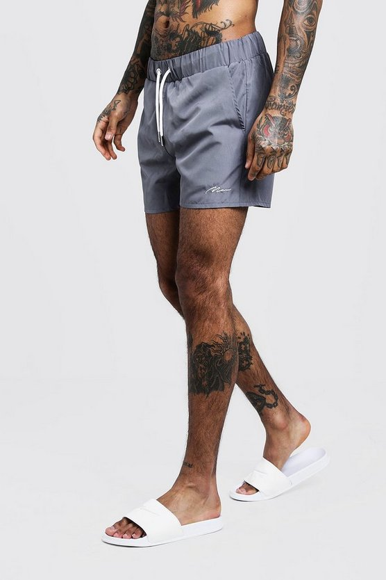 Mens Grey MAN Signature Mid Length Swim Short